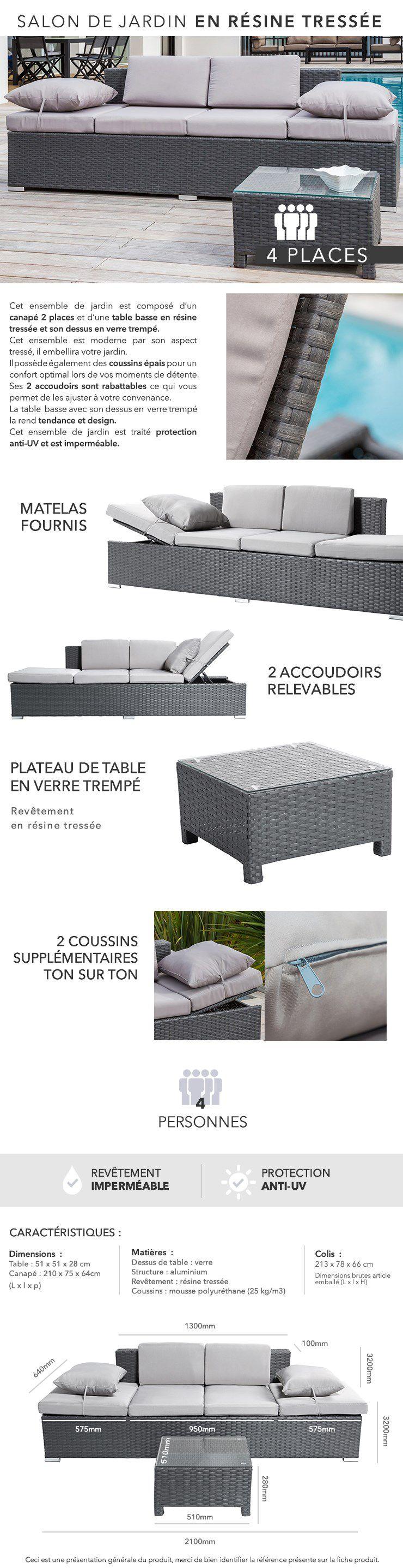 Salon de jardin 1 table basse + 1 canapé 2 places en résine ...