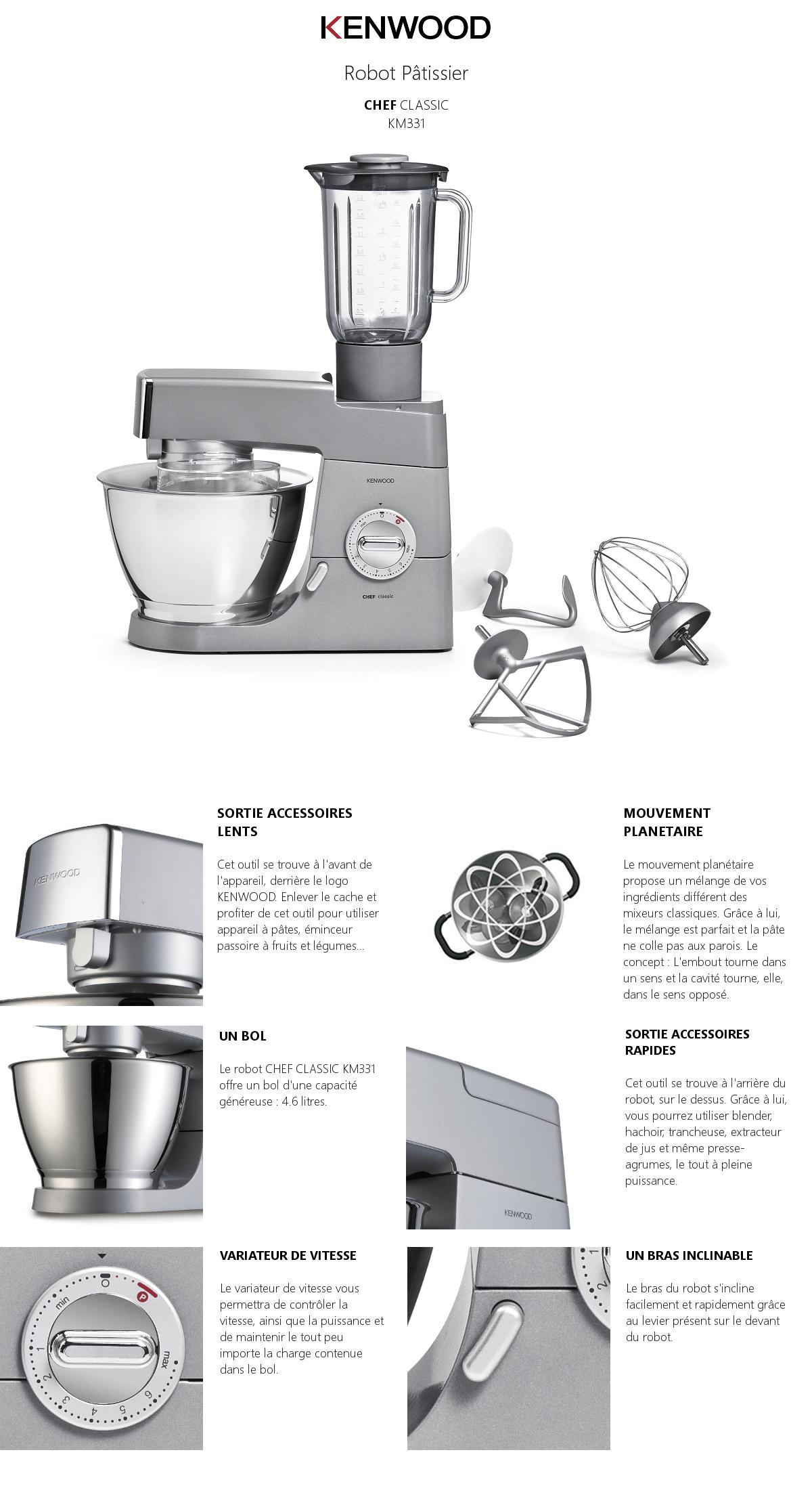 kenwood km331 robot p tissier classic gris achat vente robot de cuisine cdiscount. Black Bedroom Furniture Sets. Home Design Ideas