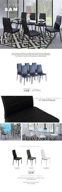 Salle A Manger Gris Blanc Noir sam lot de 6 chaises de salle à manger en simili gris