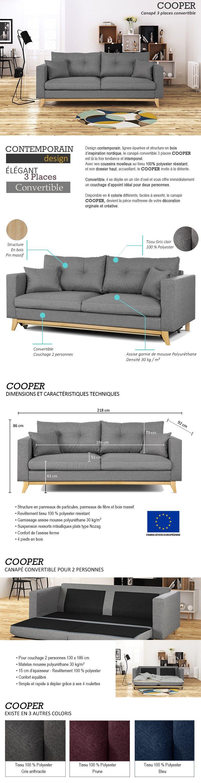 Extrêmement COOPER Canapé droit convertible - 3 places - Tissu gris  GO48