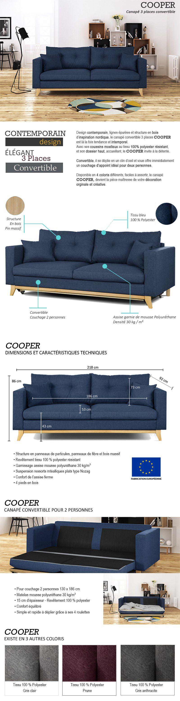 Extrêmement COOPER Canapé droit convertible 3 places - Tissu bleu - Scandinave  GO48