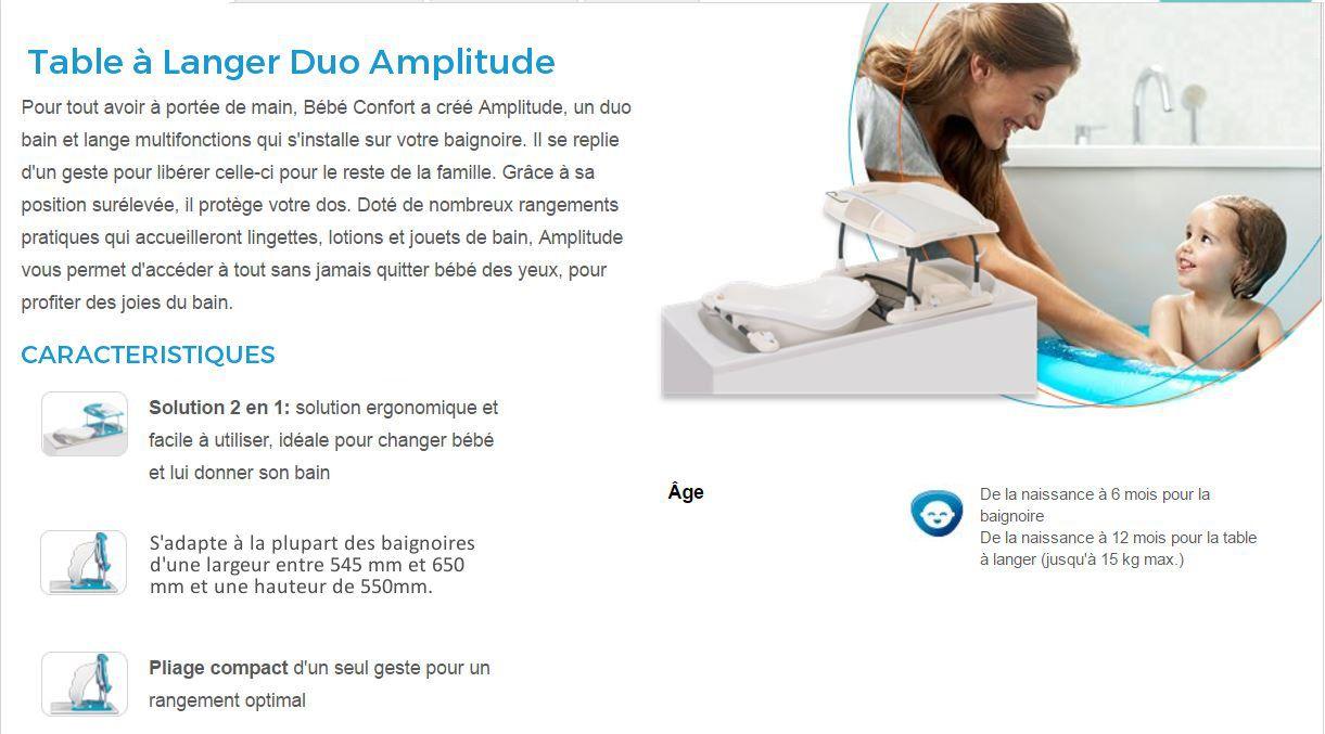 Bebe confort table langer duo amplitude achat vente - Table a langer baignoire bebe confort ...
