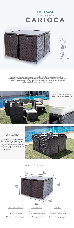 Salon de jardin Carioca 4 fauteuils et 2 poufs en résine tressée et ...