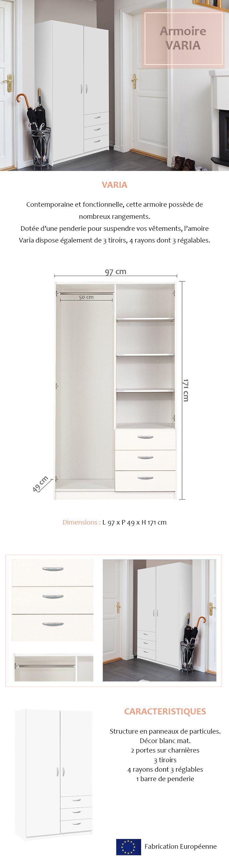 VARIA Armoire de chambre style contemporain blanc L 97 cm