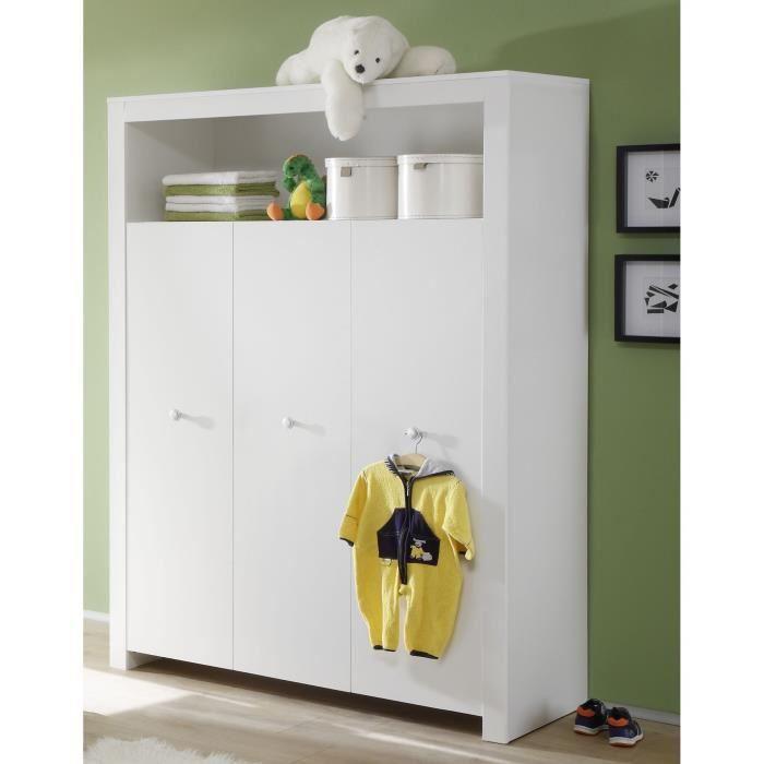 OLIVIA Chambre Bébé Complète : Lit 70x140 cm + Armoire + Commode - Blanc