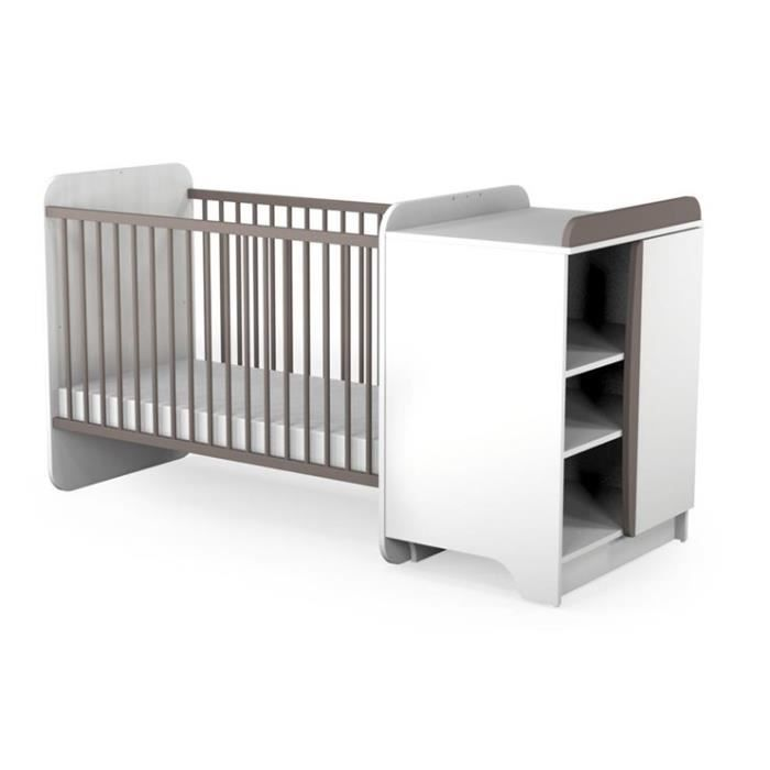 at4 lit combin evolutif b b taupe 60 x 120 cm taupe. Black Bedroom Furniture Sets. Home Design Ideas