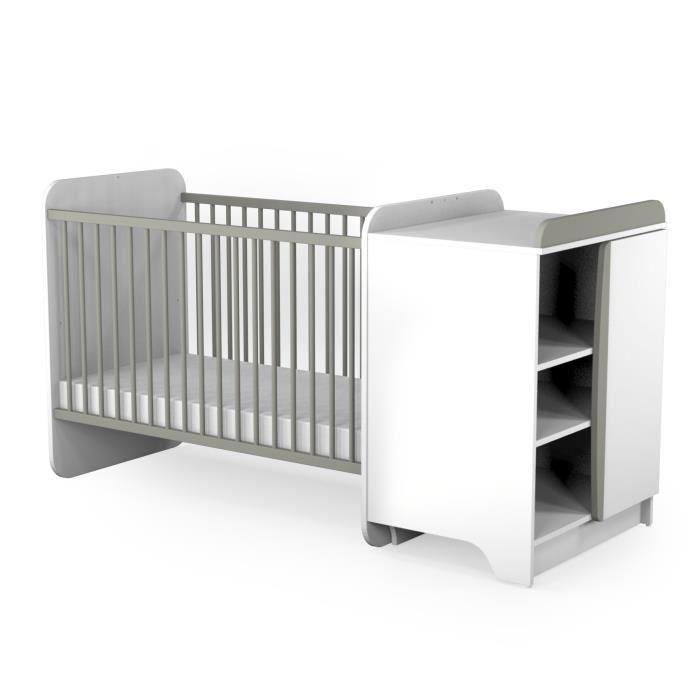at4 lit combin evolutif b b gris terre 60 x 120 cm gris. Black Bedroom Furniture Sets. Home Design Ideas