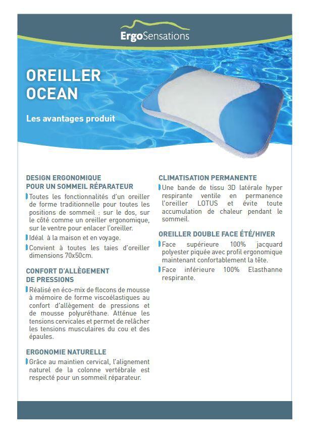 haut de page oreiller HEALTHCARE Oreiller à mémoire de forme OCEAN 40x60 cm blanc  haut de page oreiller
