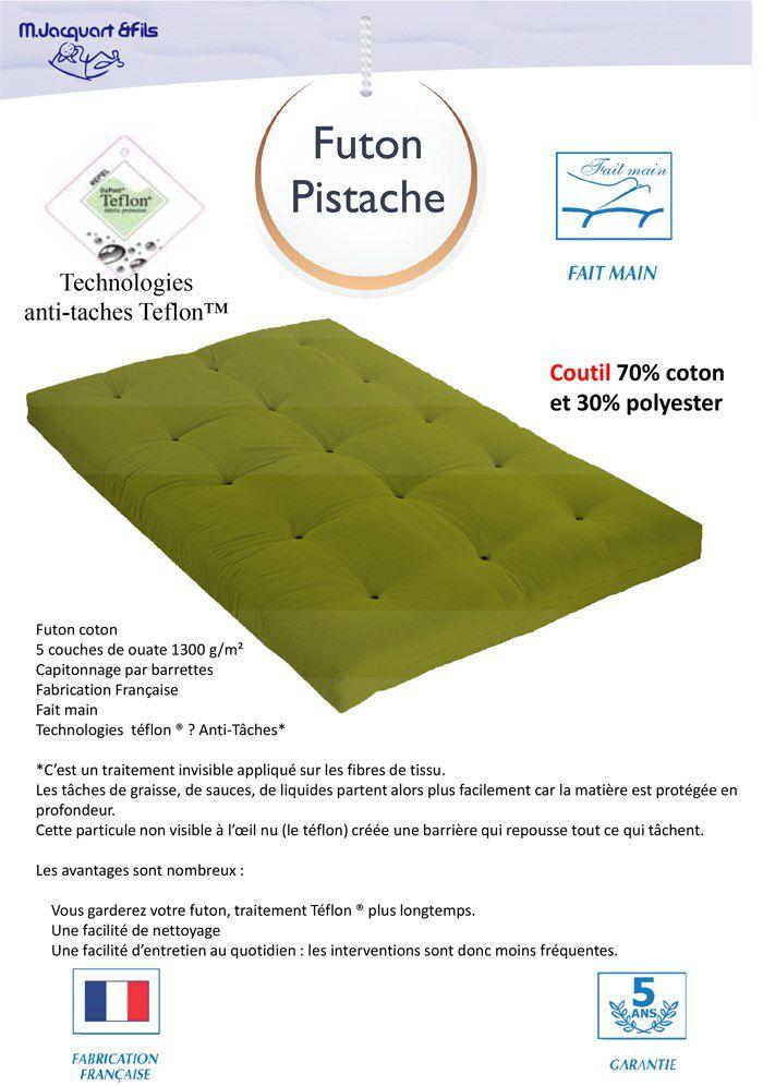 matelas futon 140x190 pistache 5 couches de ouate 1300g m equilibr et ferme achat. Black Bedroom Furniture Sets. Home Design Ideas
