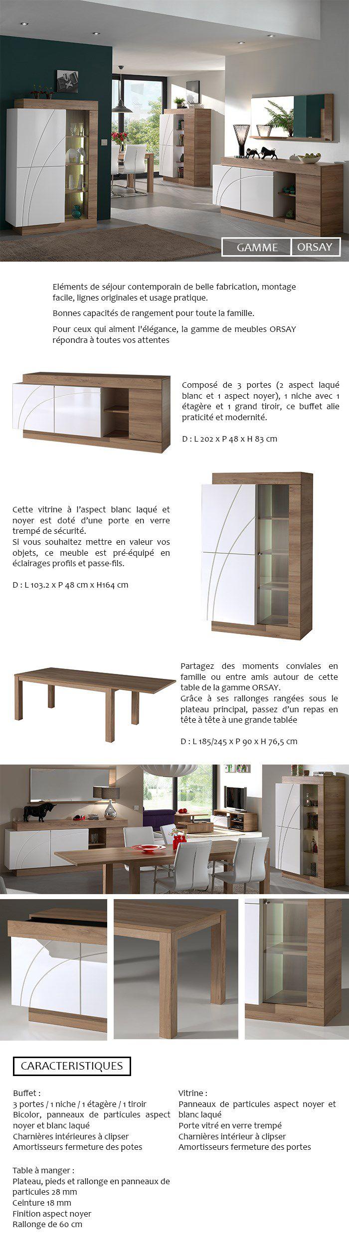 Orsay Vitrine Contemporain Laqu Blanc Et D Cor Noyer L 103 Cm