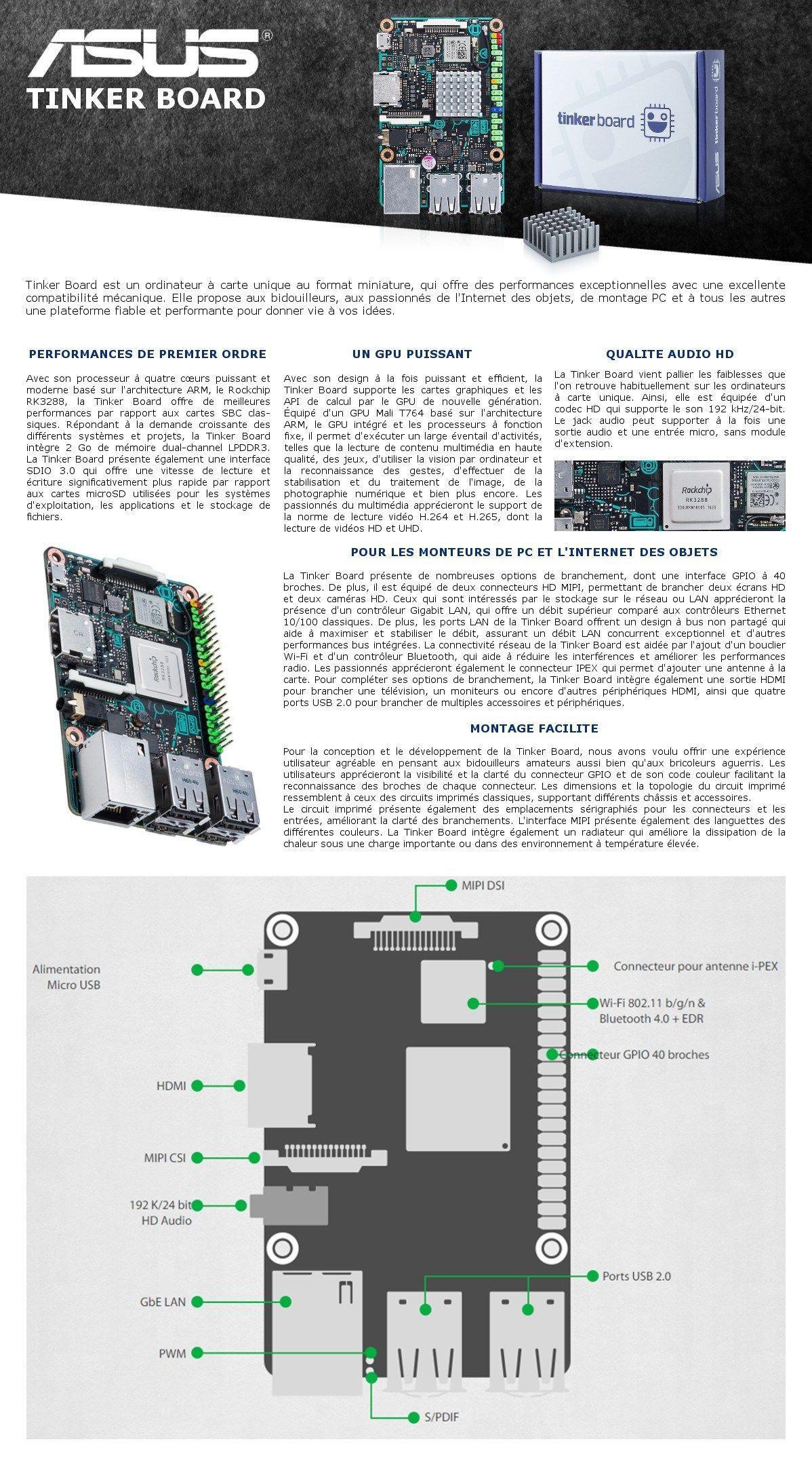 ASUS Carte mère TINKER BOARD - Rockchip RK3288 - Cortex-A17