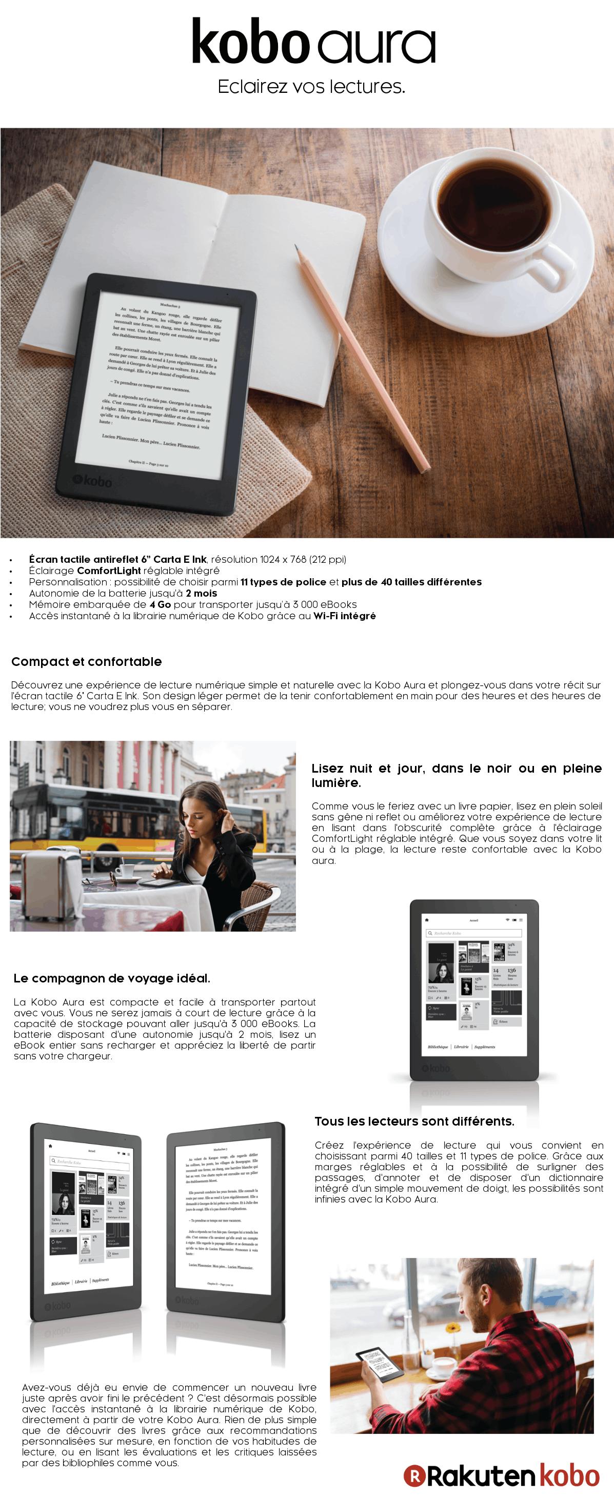 KOBO eBook AURA 2ND EDITION - Liseuse - Prix pas cher
