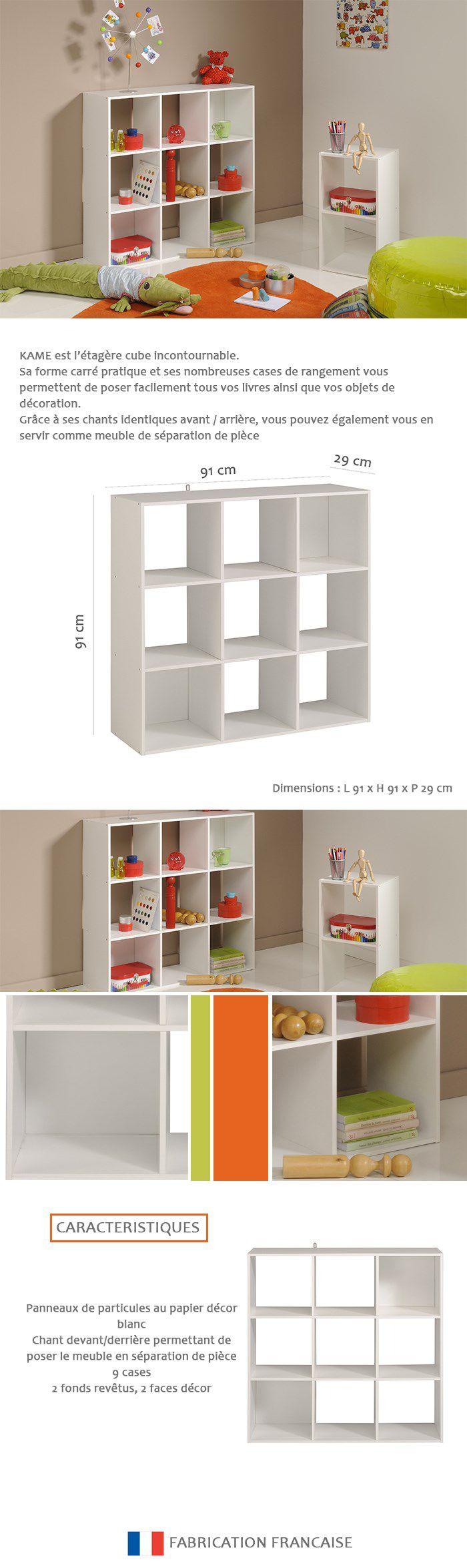 Petit Meuble De Separation kame Étagère meuble contemporain décor blanc mat - l 91 cm
