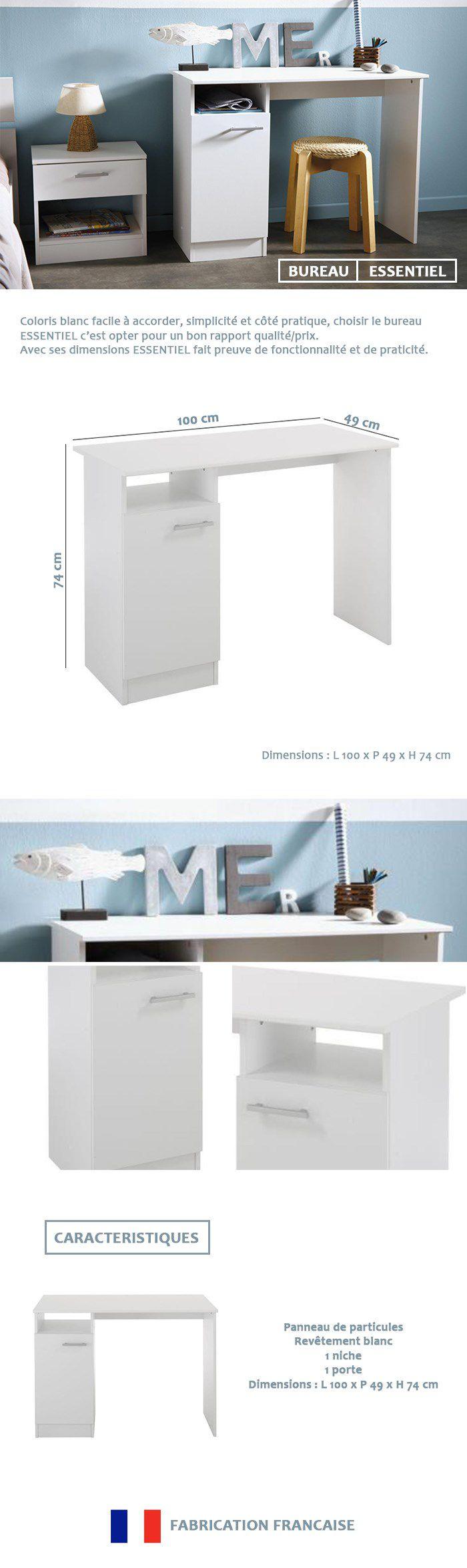 essentielle bureau classique d cor blanc meg ve l 100 cm achat vente bureau essentielle. Black Bedroom Furniture Sets. Home Design Ideas