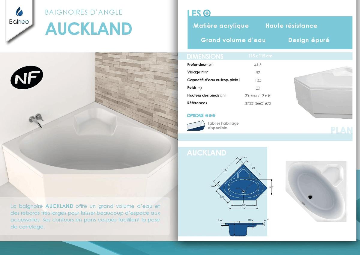 BALNEO Baignoire d'angle Auckland 115x115 cm   Achat / Vente