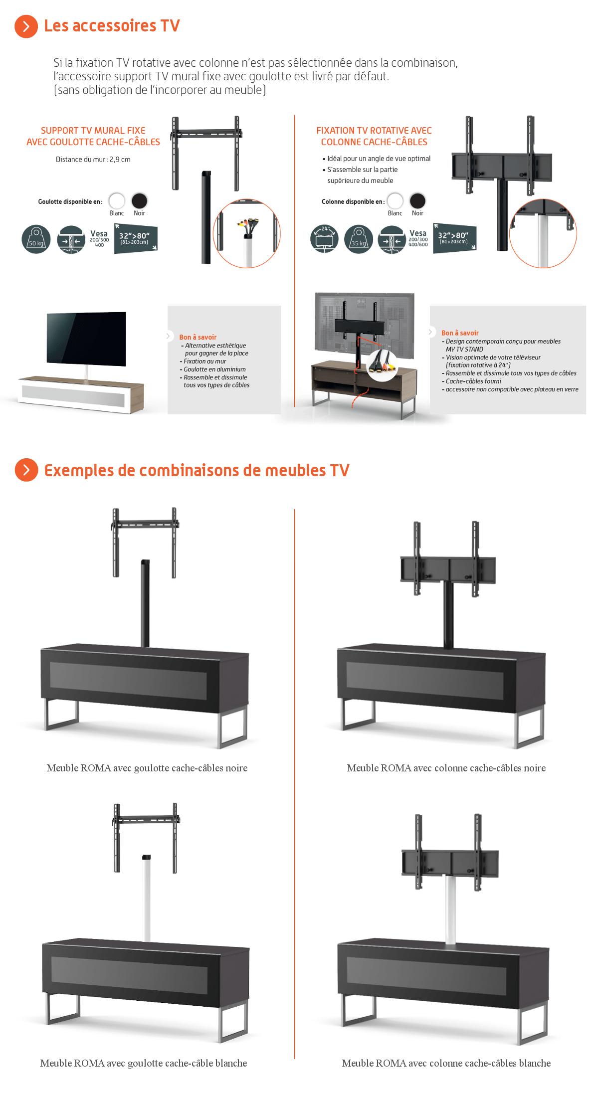 Meuble Tv Avec Cache Fils maliconi bari 120 meuble tv - longueur 120 cm - demi-porte