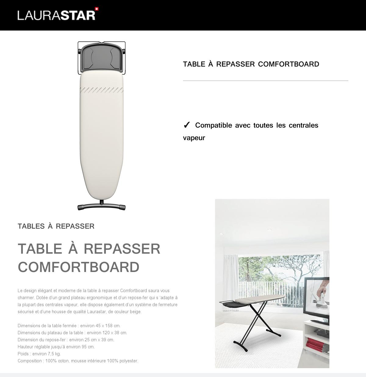 Laurastar Table A Repasser Comfortboard Beige Achat Vente