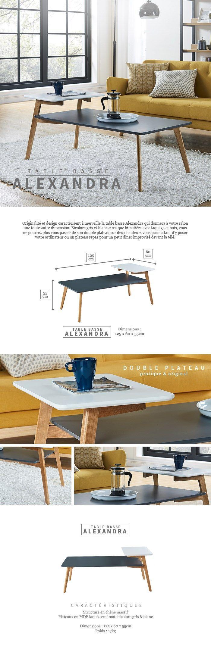 alexandra table basse vintage en bois ch234ne massif et mdf