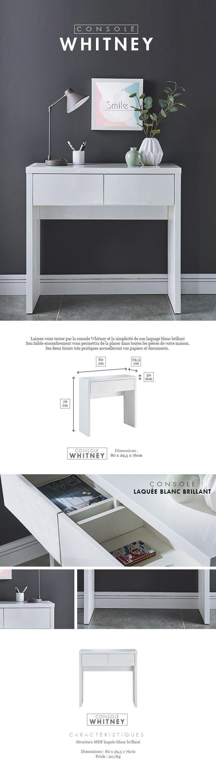 Whitney Console Style Contemporain Laqu E Blanc Brillant L 80 Cm
