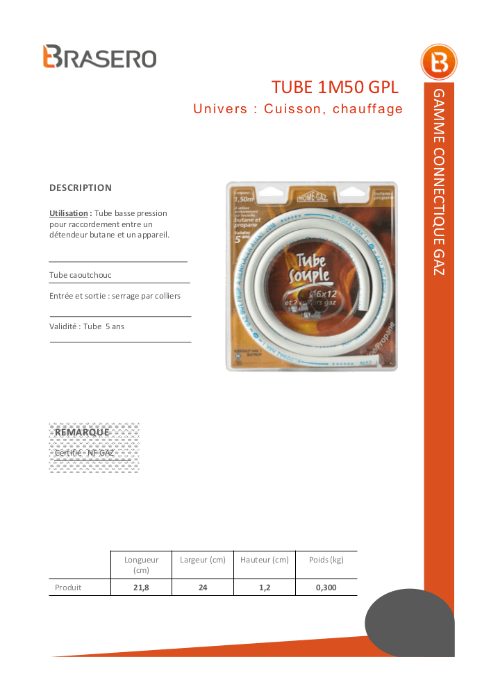 BRASERO TYPE TUBE 6X12 150 Tube souple NF butane/propane 5 ans – 1,50 mètre