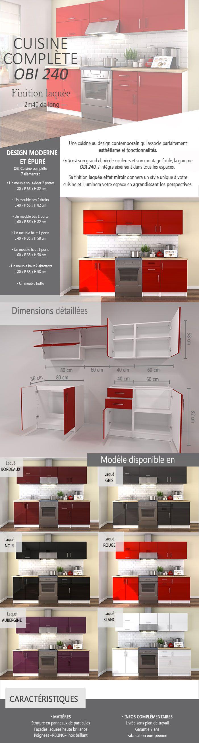 obi cuisine compl te l 2m40 rouge laqu brillant achat vente cuisine compl te obi cuisine. Black Bedroom Furniture Sets. Home Design Ideas