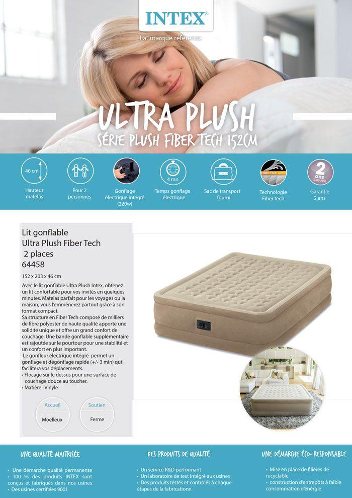 Intex Matelas Ultra Plush Fiber Tech 152x203 Gonflable Fermete