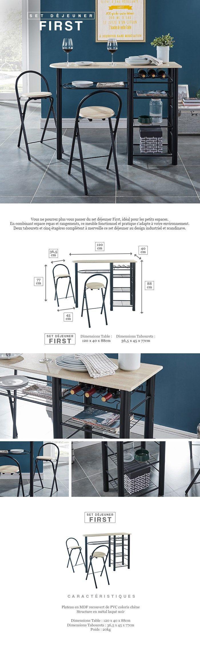 FIRST Ensemble table bar et tabourets metal laque noir Style et design  contemporain 9603074e77c4