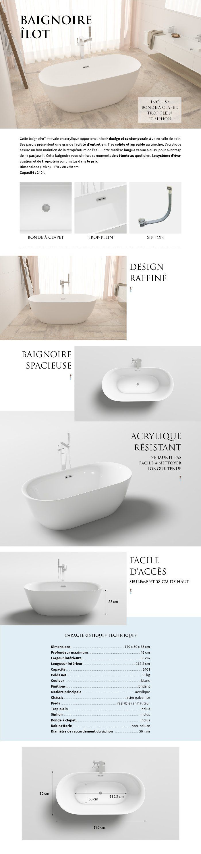 baignoire ilot ovale design 170x80 cm en acrylique blanc siphon