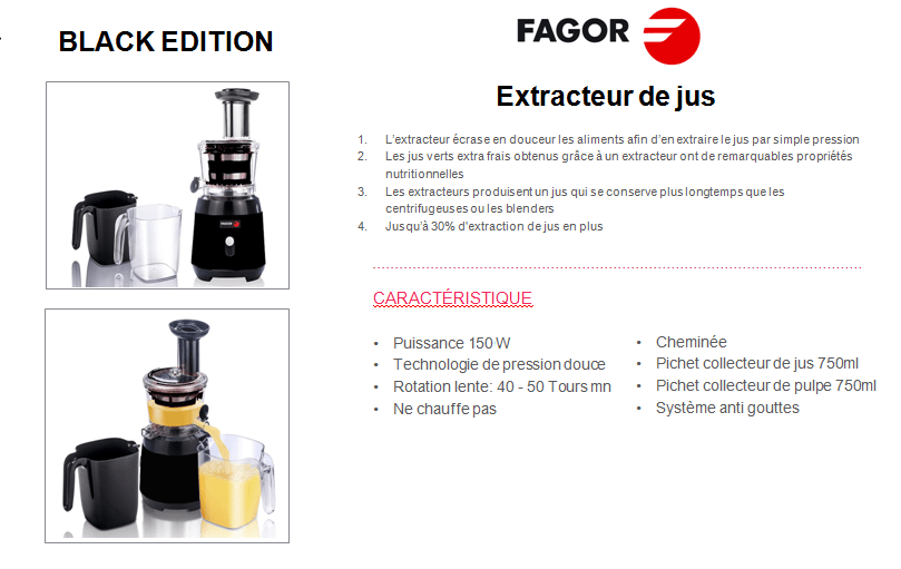 fagor fg8920 extracteur de jus black edition