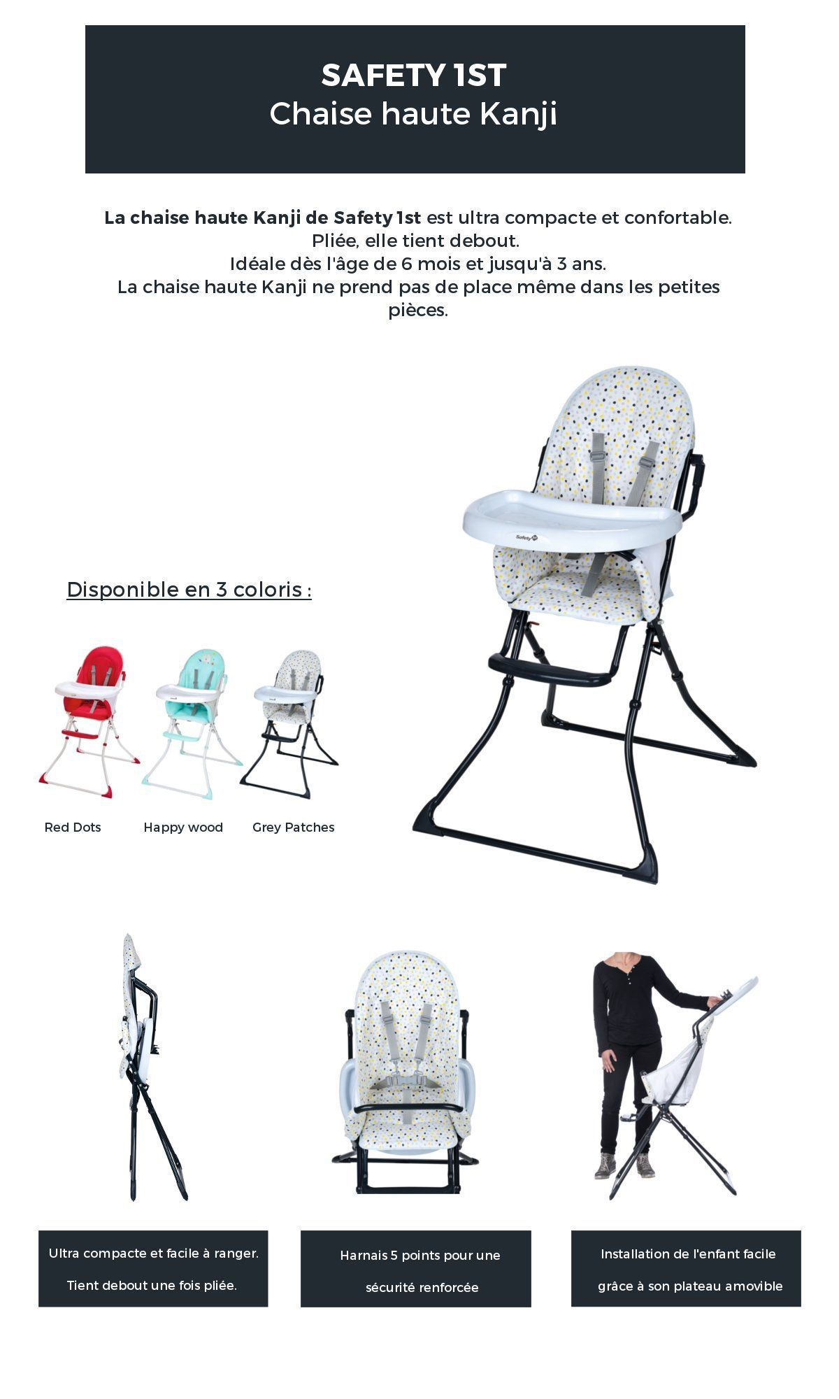 destockage safety 1st chaise haute kanji grey patches chaise haute au meilleur prix soldes. Black Bedroom Furniture Sets. Home Design Ideas