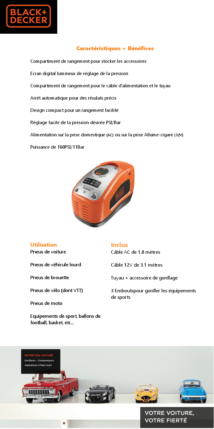 BLACK&DECKER Compresseur 11Bars programmable