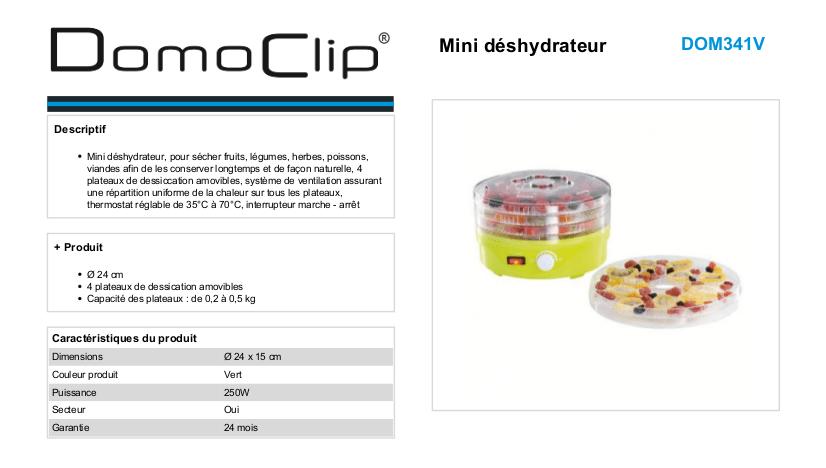 domoclip dom341V mini deshydrateur d'aliments