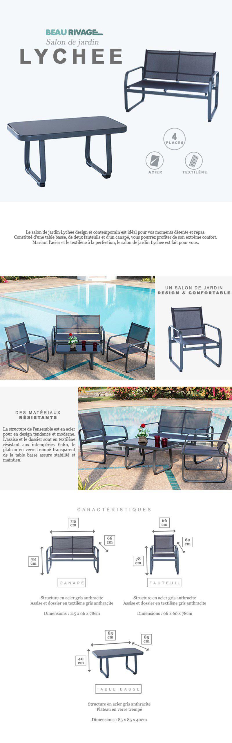 LYCHEE Salon de jardin - 1 table basse 1 canapé et 2 fauteuils ...