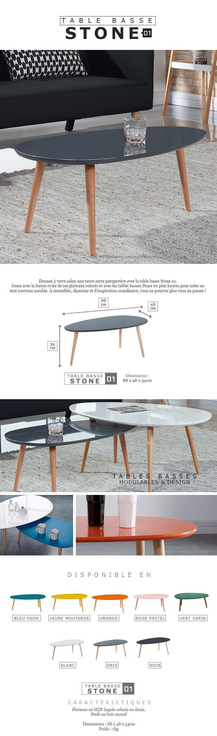Stone Table Basse Ovale Scandinave Blanc Laque L 88 X L 48 Cm
