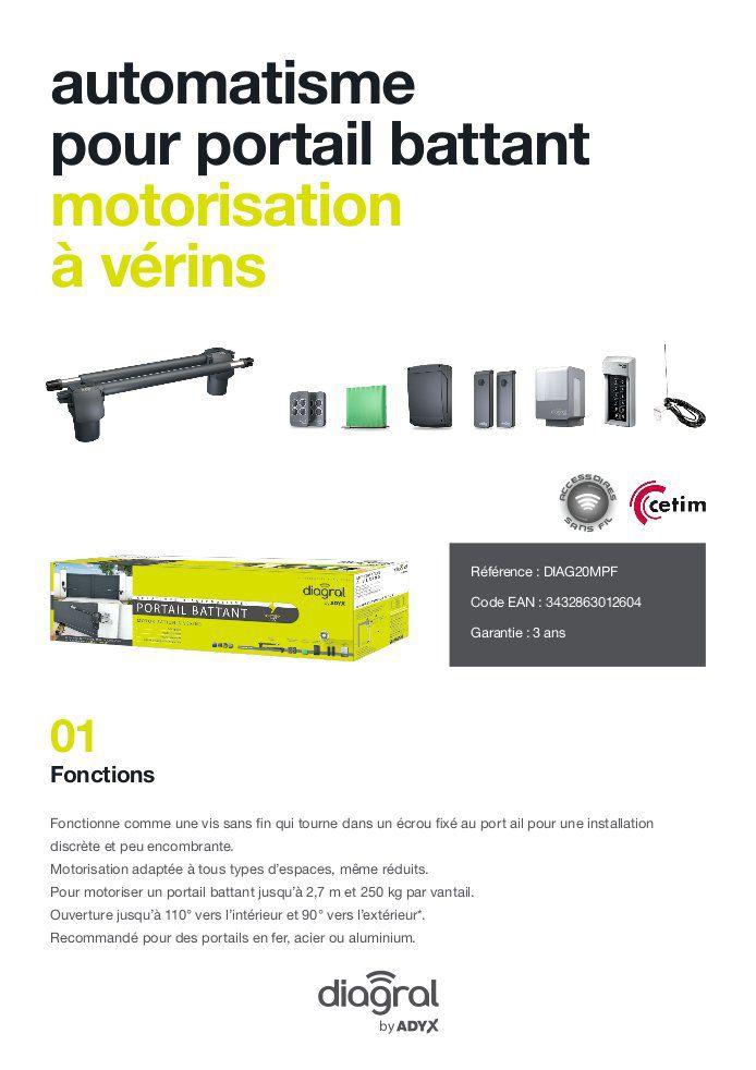 DIAGRAL BY ADYX Motorisation à Vérins Pour Portail Battant 5,40 M X 500 Kg  Max