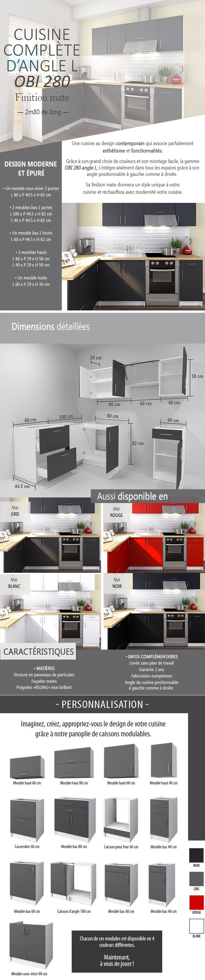 obi cuisine compl te d 39 angle l 2m80 gris mat achat vente cuisine compl te obi angle 280. Black Bedroom Furniture Sets. Home Design Ideas