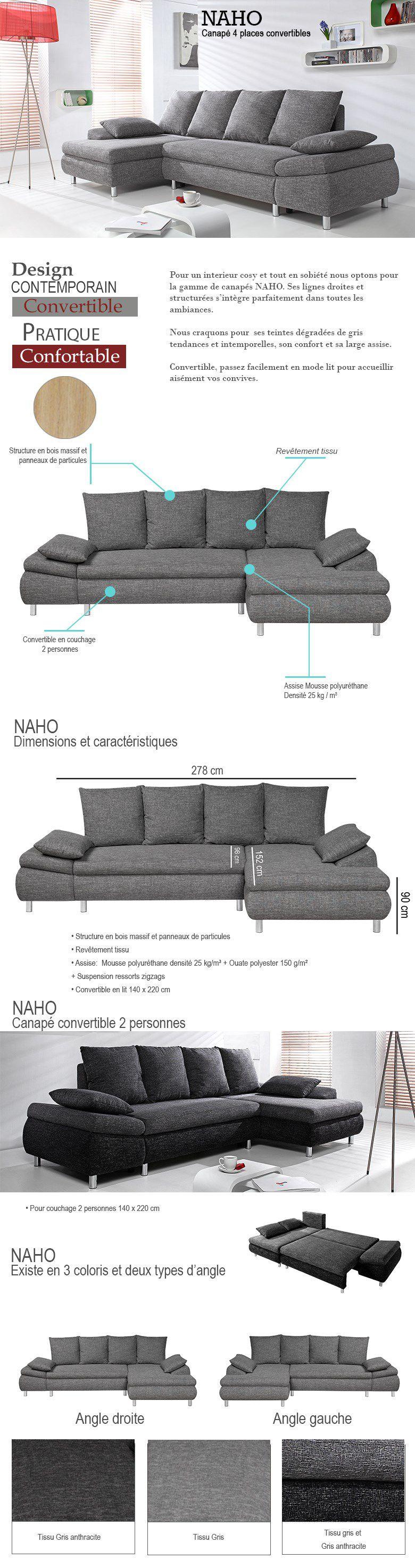 Extrêmement NAHO Canapé d'angle convertible 4 places - Tissu gris anthracite  GO48