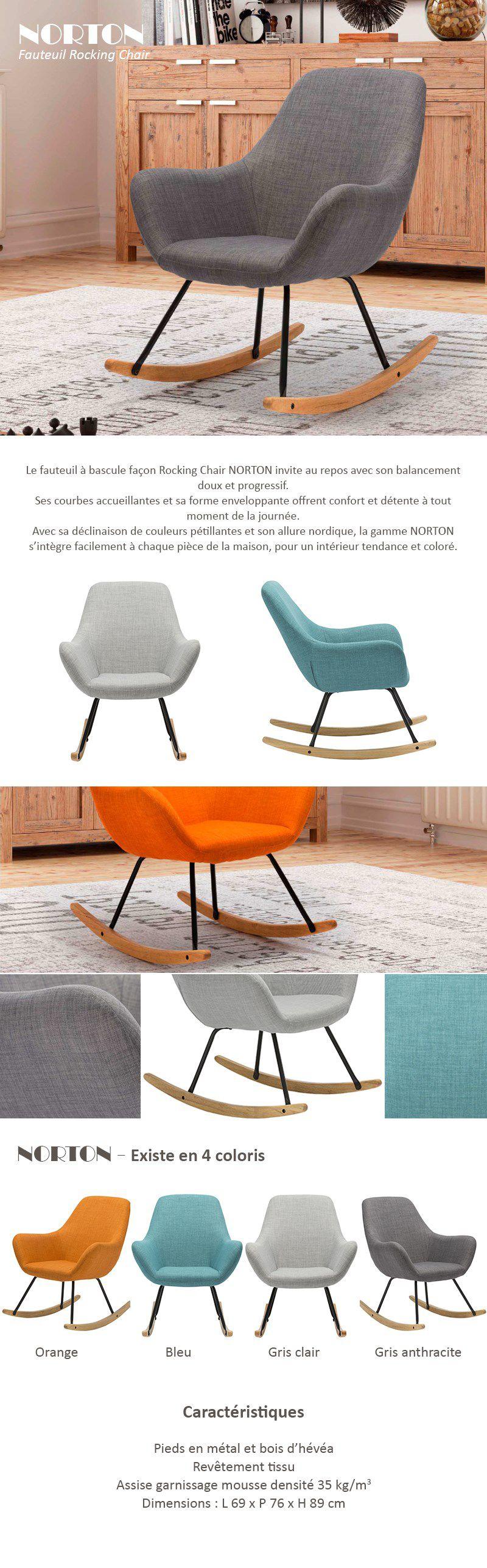 Norton Fauteuil Rocking Chair En Tissu Gris Anthracite Pieds