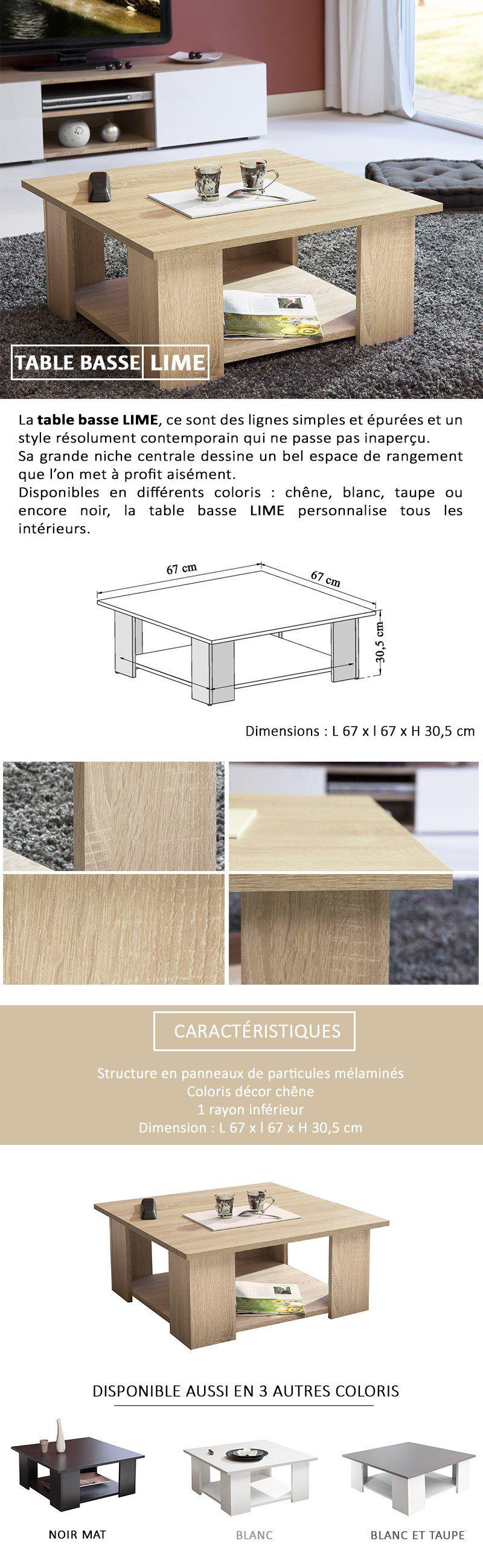 rev/êtement en r/ésine melaminica l-l-a 67/x 67/x 30,5/cm Symbiosis Square 67/x 67/Table de Salon ch/êne et b/éton