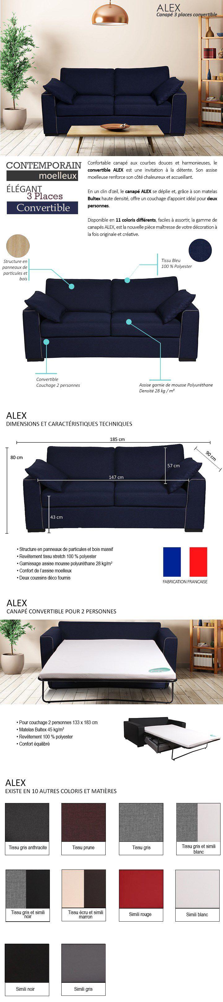 ALEX Canapé droit convertible 3 places avec matelas Bultex - Tissu ...