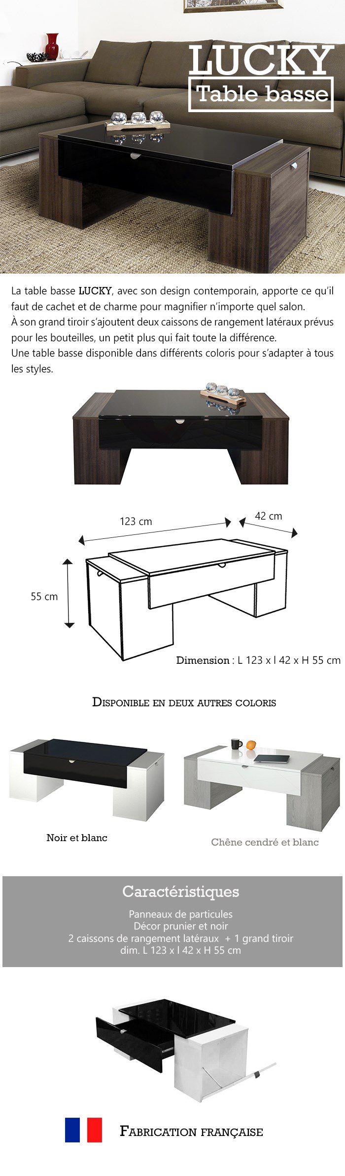 Difference Blanc Brillant Et Blanc Laqué lucky table basse style contemporain noir brillant et blanc