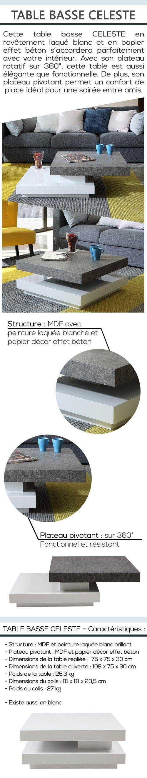 Basse Table Décor Blanc Et Celeste Contemporain Laqué Béton Style xQdCBshtr