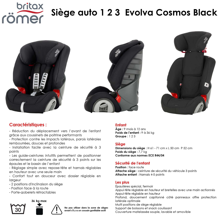 Présentation produit   BRITAX ROMER Siège Auto inclinable Groupe 1 2 3  Evolva Cosmos Black. Haut de page △. Livraison avec suivi 1e812db5e402