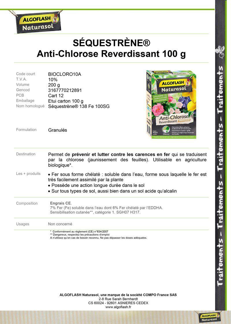 Actif dans Le Sol Algoflash NATURASOL Séquestrène Anti-Chlorose Reverdissant