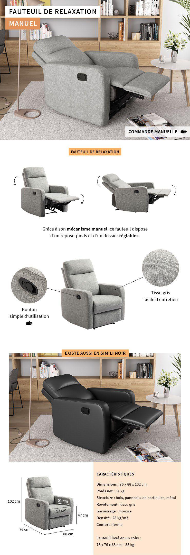 Relax Relaxation Classique L Manuel 76 Fauteuil De Tissu Gris TFJc1lK3