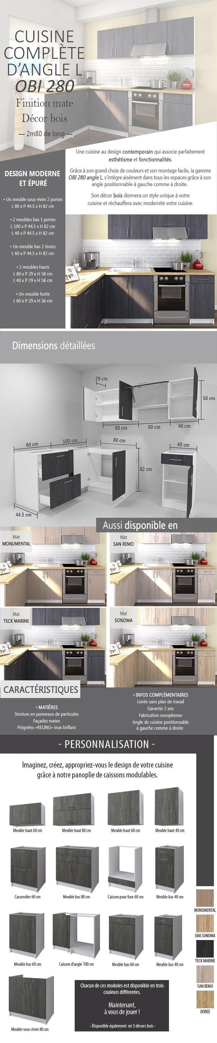 obi cuisine compl te d 39 angle l 280 cm d cor teck marine. Black Bedroom Furniture Sets. Home Design Ideas