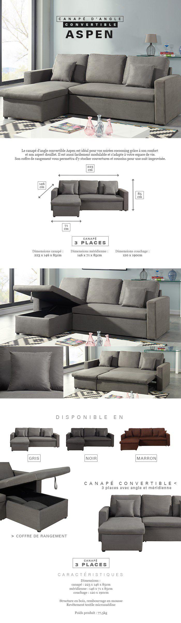 aspen canap d 39 angle r versible convertible 3 places tissu gris contemporain l 223 x p 146. Black Bedroom Furniture Sets. Home Design Ideas