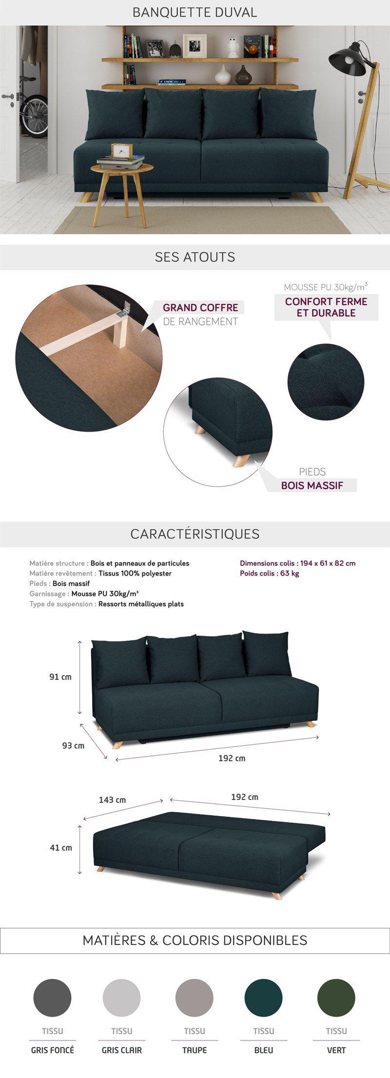 duval banquette convertible 3 places - tissu bleu canard - style