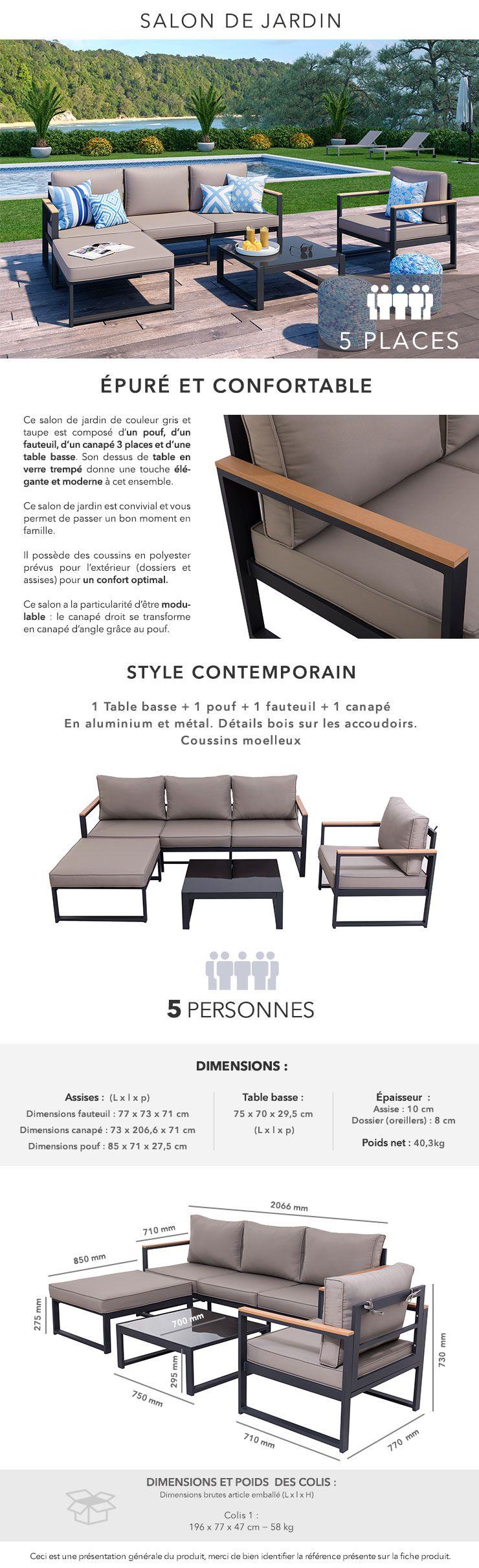 LOUNGITUDE Salon de jardin 4 places en aluminium - Gris foncé avec ...