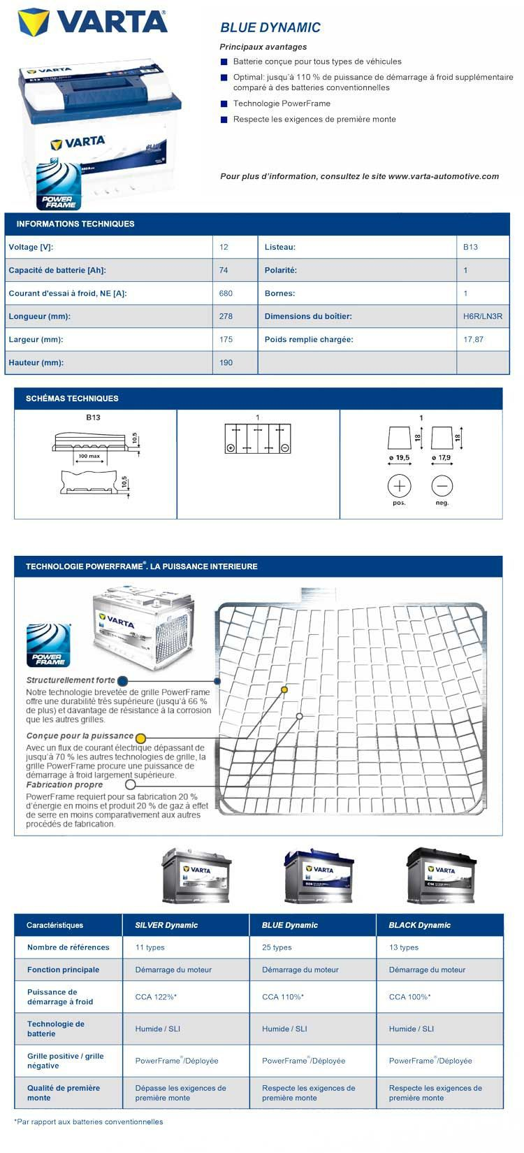 varta batterie auto e12 gauche 12v 74ah 680a achat vente batterie v hicule batterie. Black Bedroom Furniture Sets. Home Design Ideas